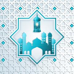 Greeting card template islamic vector design for Eid Mubarak