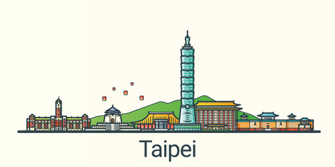 Banner of Taipei city in flat line trendy style. All buildings separated and customizible. Line art.