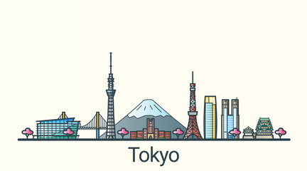 Banner of Tokyo city in flat line trendy style. All buildings separated and customizable. Line art.