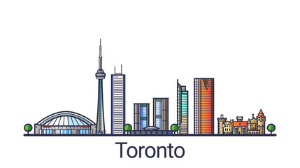 Banner of Toronto city skyline in flat line trendy style. Toronto city line art. All buildings separated and customizable.