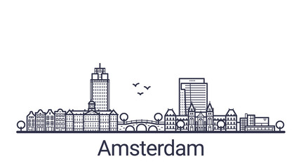 Linear banner of Amsterdam city. All buildings - customizable different objects with clipping mask, so you can change background and composition. Line art.