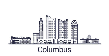 Linear banner of Columbus city. All buildings - customizable different objects with clipping mask, so you can change background and composition. Line art.