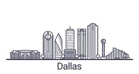 Linear banner of Dallas city. All buildings - customizable different objects with clipping mask, so you can change background and composition. Line art.