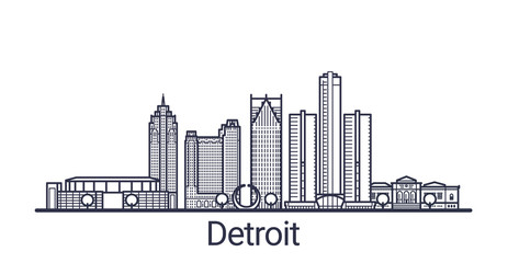 Linear banner of Detroit city. All buildings - customizable different objects with clipping mask, so you can change background and composition. Line art.