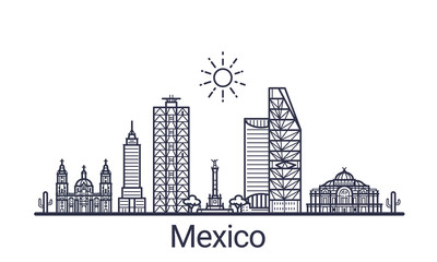 Linear banner of Mexico city. All buildings - customizable different objects with clipping mask, so you can change background and composition. Line art.