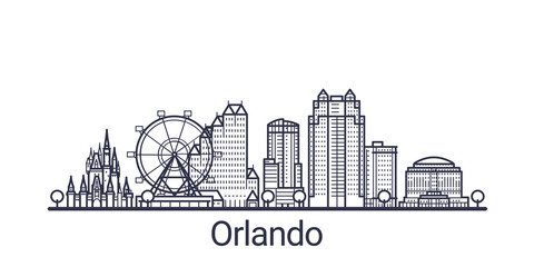 Linear banner of Orlando city. All buildings - customizable different objects with clipping mask, so you can change background and composition. Line art.