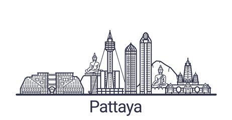 Linear banner of Pattaya city. All buildings - customizable different objects with clipping mask, so you can change background and composition. Line art. Wall mural