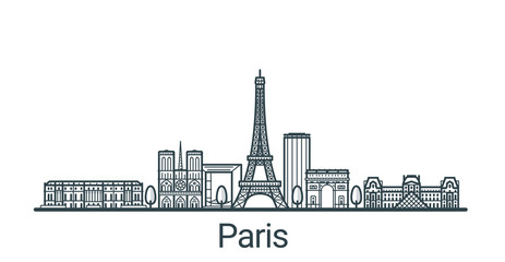 Linear banner of Paris city. All buildings - customizable different objects with clipping mask, so you can change background and composition. Line art. Fototapete