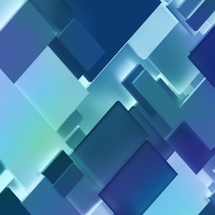 3d render, digital illustration, abstract geometric background, diagonal split blocks, dynamic pattern, blue panel fragments, interior wall decor, flat layers