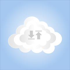 creative cloud storage on blue sky,vector illustration