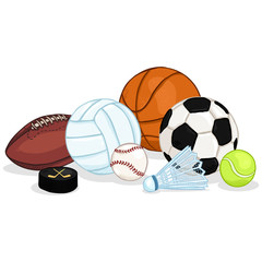 Vector Sport Set - Pile of Different Balls and Equipment