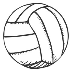 Vector Single Sketch Volleyball Ball