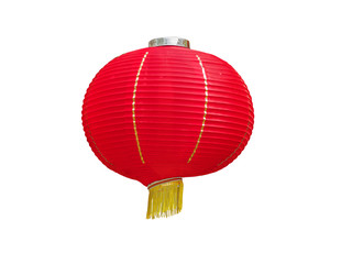 Colorful Chinese paper lanterns hanging,isolated on white background with clipping path.