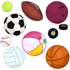 Vector Cartoon Set of Sport Balls