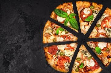 Cut into slices delicious fresh pizza
