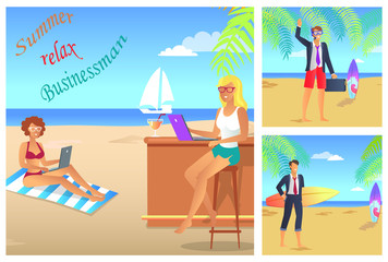 Businessman Summer Relax Color Vector Illustration