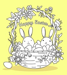 Woven Easter basket with eggs and bunnies, vector coloring page template
