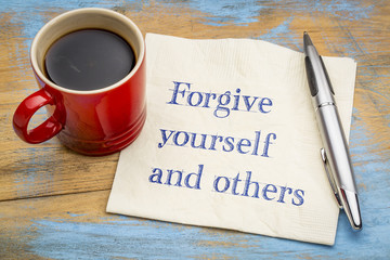 Forgive yourself and others note on napkin