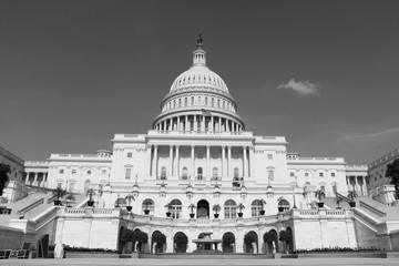 United States Capitol Building in Washington DC, in black and white. Impressive architecture of iconic landmark. Power, legislation, concept