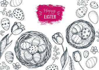 Happy Easter vintage frame. Hand drawn template for design. Easter eggs, spring tulip and branches collection. Retro style sketch