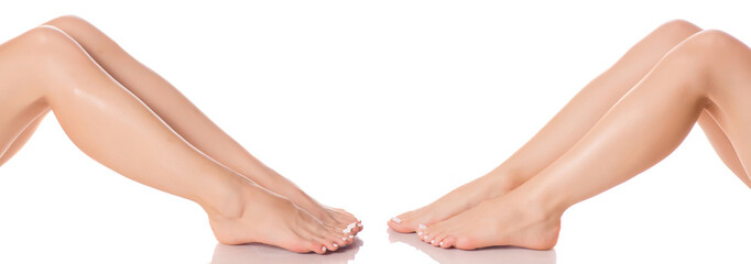 Set female feet legs  from different directions medicine beauty health