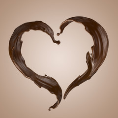 Wall Mural - 3d render, chocolate heart splash, wavy jets, liquid clip art collection, isolated design elements
