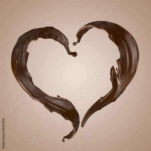 Wall mural 3d render, chocolate heart splash, wavy jets, liquid clip art collection, isolated design elements