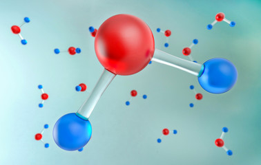 Water H2O Molecules 3d illustration, chemical science concept