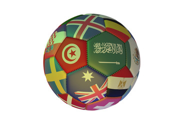 Isolated realistic football with flags of countries, in the center of Tunisia, Saudi Arabia and Australia, 3d rendering.