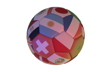 Isolated realistic football with flags of countries, in the center of Argentine, France, Poland and Switzerland, 3d rendering.