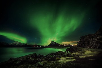 Northern lights at Sandnes in Lofoten