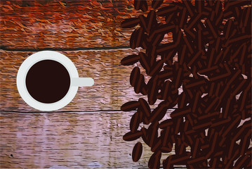 Cup of coffee next to grains on a wooden table