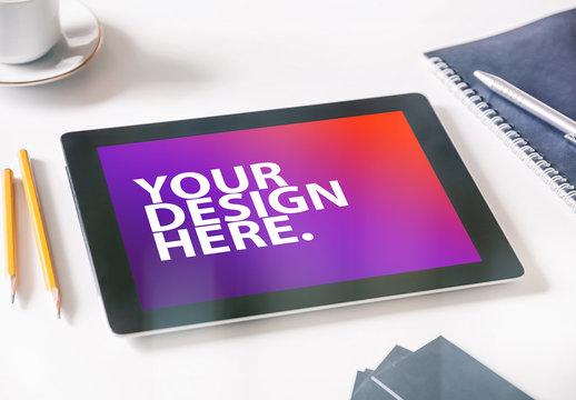 Tablet on Desk with Pencils Mockup 1
