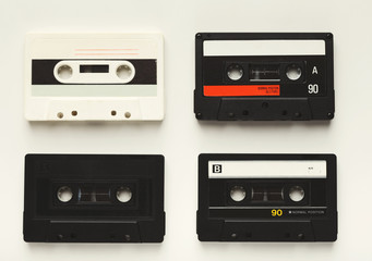 Vintage audio cassettes isolated on white background