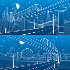 Monorail railway. Trains on bridge. Illuminated highway. Transportation urban illustration set. Skyline modern city at background. Business buildings. White lines on blue background. Vector design art