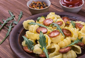 Penne pasta with sausage