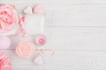 SPA organic products with roses, bath salt