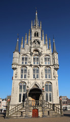 Ancient City hall of Gouda at the market square in the Netherlands