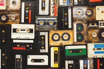 Vintage audio cassettes beige background