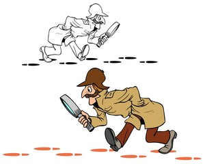 Sherlock style detective following the clues. Comes with bonus black outline version