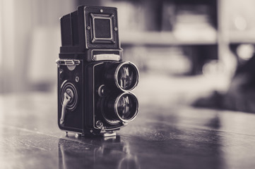 Old photo camera in black and white