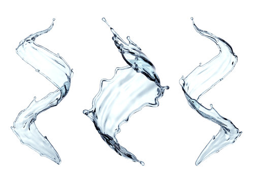 3d render, clean and clear water splash, wave, pure liquid clip art, isolated on white background