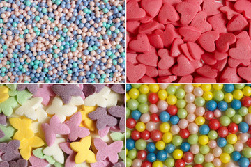 Confectionery decorations for cake. Assortment of various sugar ornaments. Collage.