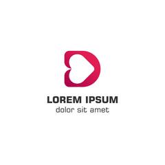 Initial letter D love logo template