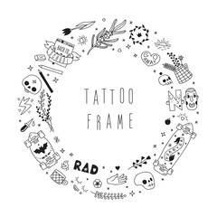Old school black tattoo vector circle frame. Part two
