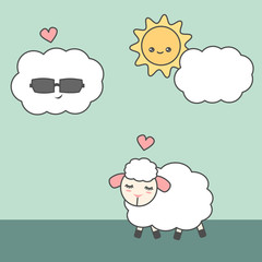 cute cartoon sheep in love with cloud funny vector illustration
