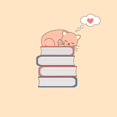 Sleeping cartoon cat on a pile of books vector illustration
