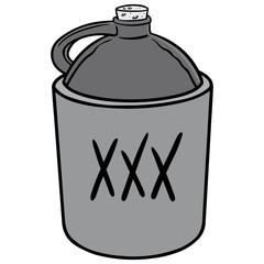 Moonshine Illustration - A vector cartoon illustration of a jug of Moonshine.