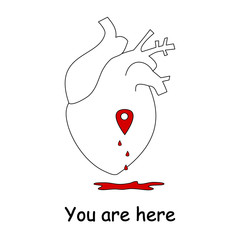 love concept vector illustration with human heart and map location