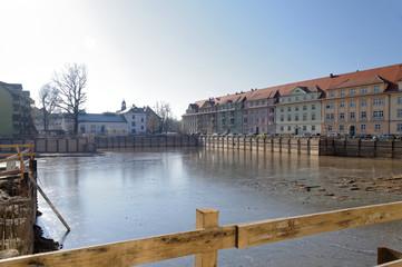 Baugrube Scheunenhof Pirna mit Grundwasser